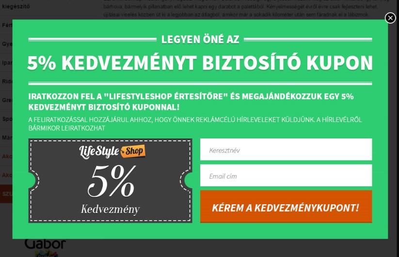 LifeStyleShop webáruház OptiMonk popup