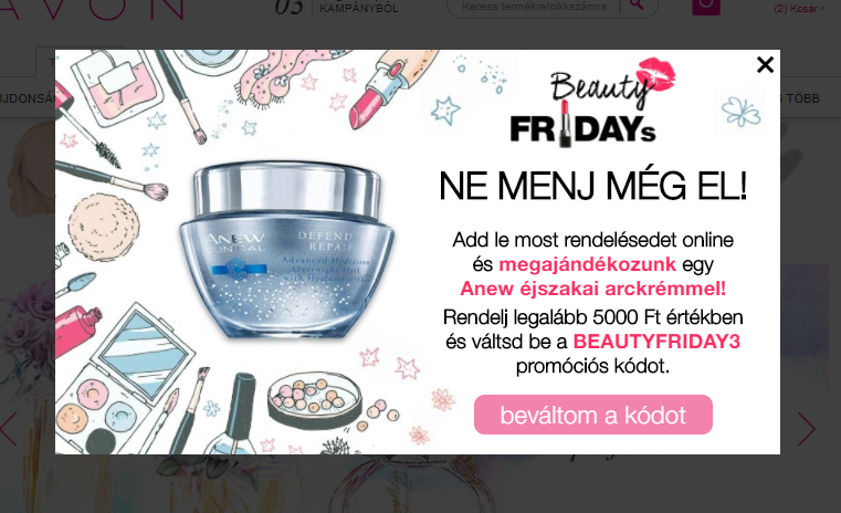 AVON Beauty Fridays popup
